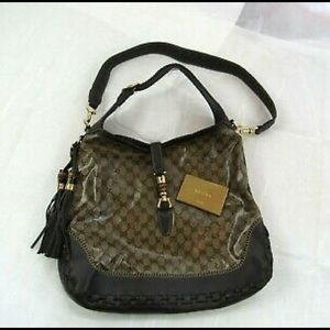 Gucci Bags - GUCCI GG Convertible Crystal Beige/Brown Bag